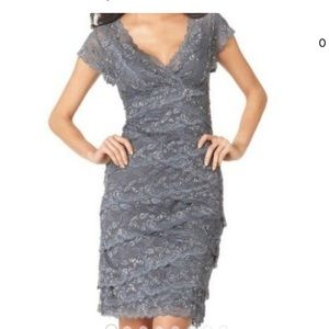Tiered sequin Lace dress with small cap sleeve